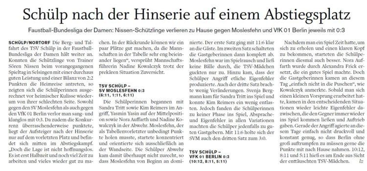 Nachbericht in der Landeszeitung zum ersten Heimspieltag