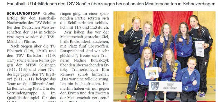 Nachbericht DM U14 aus der Landeszeitung