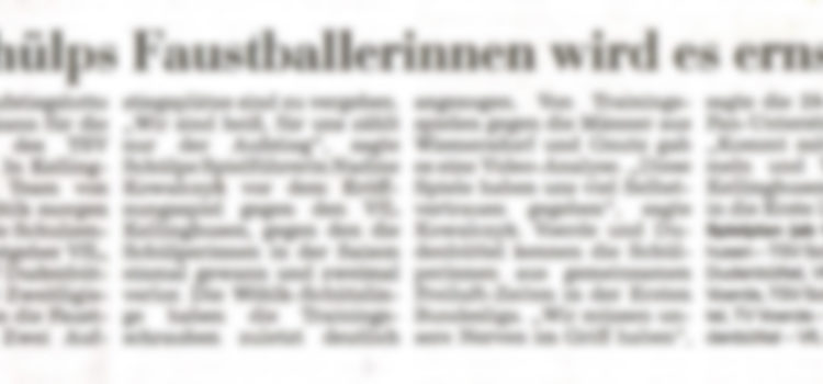 Keine Faustball Berichterstattung mehr in den Kieler Nachrichten